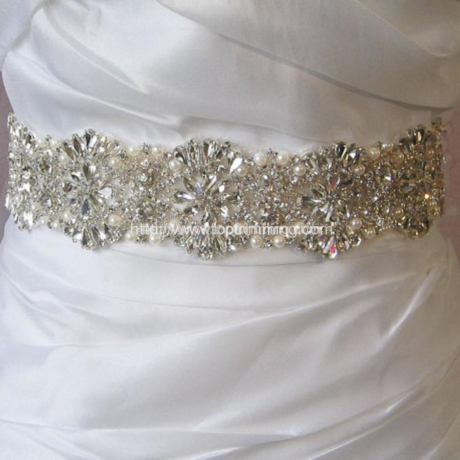 Crystal Rhinestone Trim With Pearls Beaded Rhinestone Bridal Applique For Wedding Gown Or Sash Selling Per Yard Top Trimming